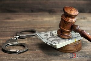 Handcuffs Money and Gavel